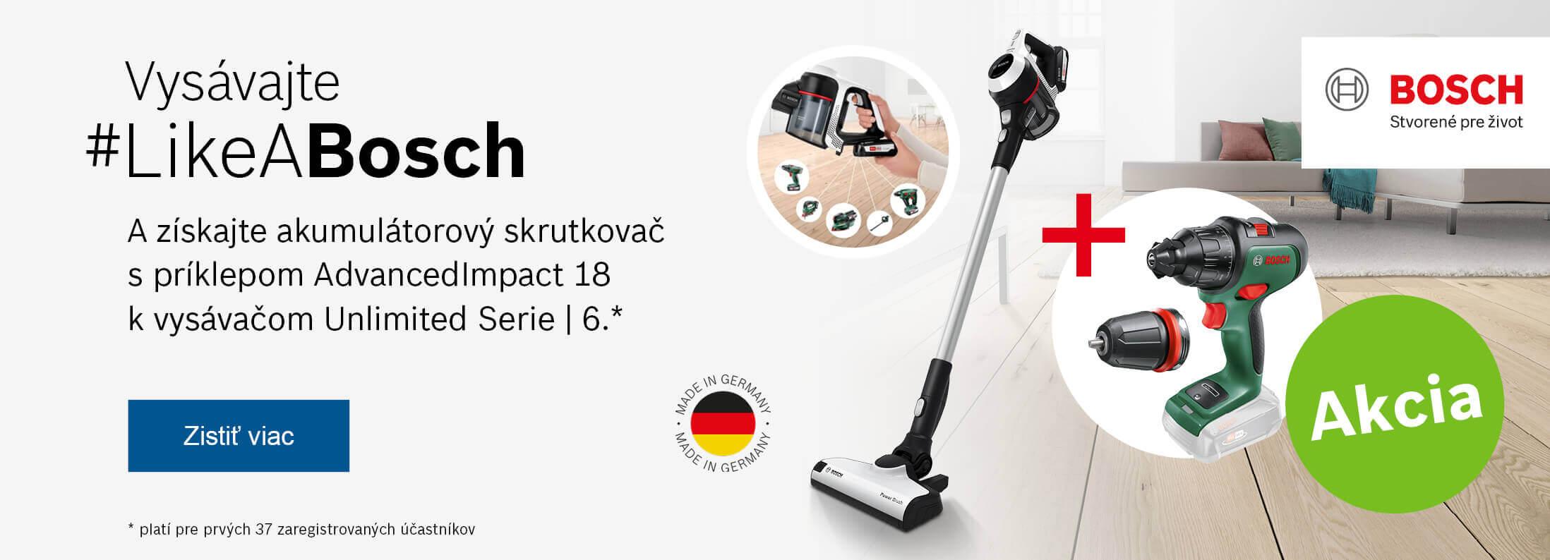 Bosch - Získajte akumulátorový skrutkovač k vysávačom Unlimited Serie   6