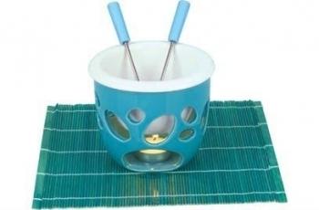 Čokoládové fondue Eva Kera modré s podložkou
