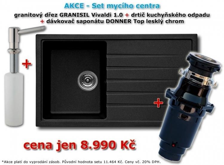 Granitový dřez Vivaldi 1.0 + Drtič kuchyňského odpadu General 370 + Dávkovač saponátu Donner Top