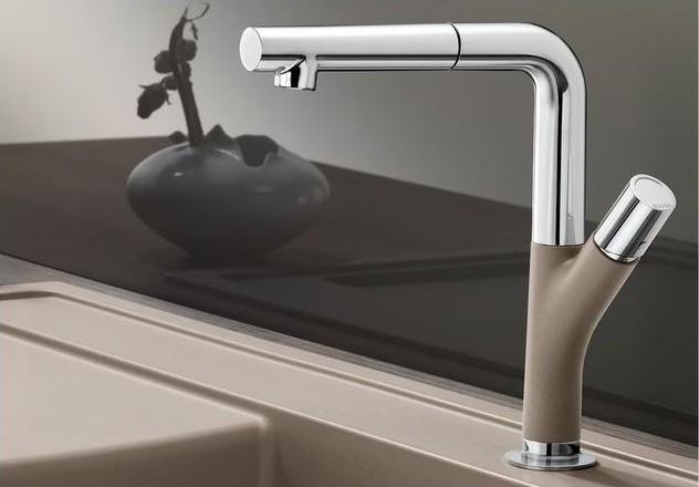 Yovis-S dřezová baterie se sprchou, hedvábně šedá 518294