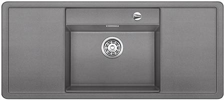 ALAROS 6 S-F aluminium, kuchyňský dřez s excentrem a příslušenstvím, SILGRANIT® 517683