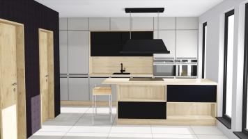 Kamenná šedá kuchyň