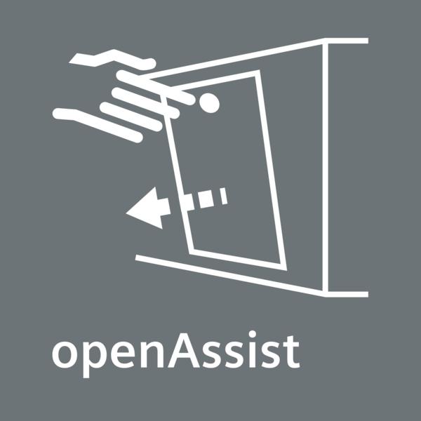 Snadné otevírání, dvířka bez madla: openAssist systém.