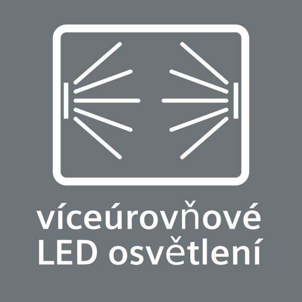 Vnútorný priestor rúry je rovnomerne osvetlený: viacúrovňové LED osvetlenie.