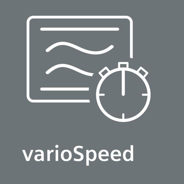 Pokud je třeba jednoduše vařit rychleji, můžete snížit obvyklý čas vaření pro vaše pokrmy až o polovinu: varioSpeed.