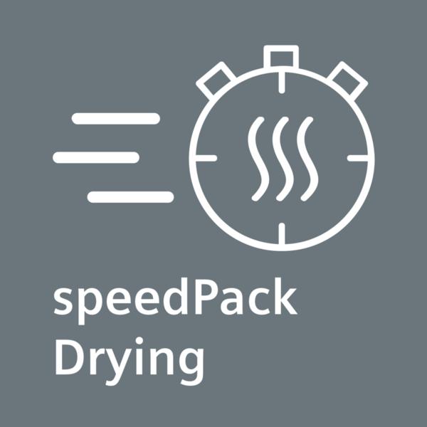 Technológia SpeedPack - Ušetrite čas vďaka rýchlym sušičkám bielizne Siemens.