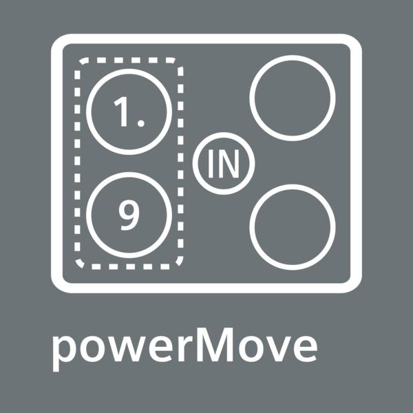 Regulujte stupeň ohřevu posunutím pánve: powerMove.