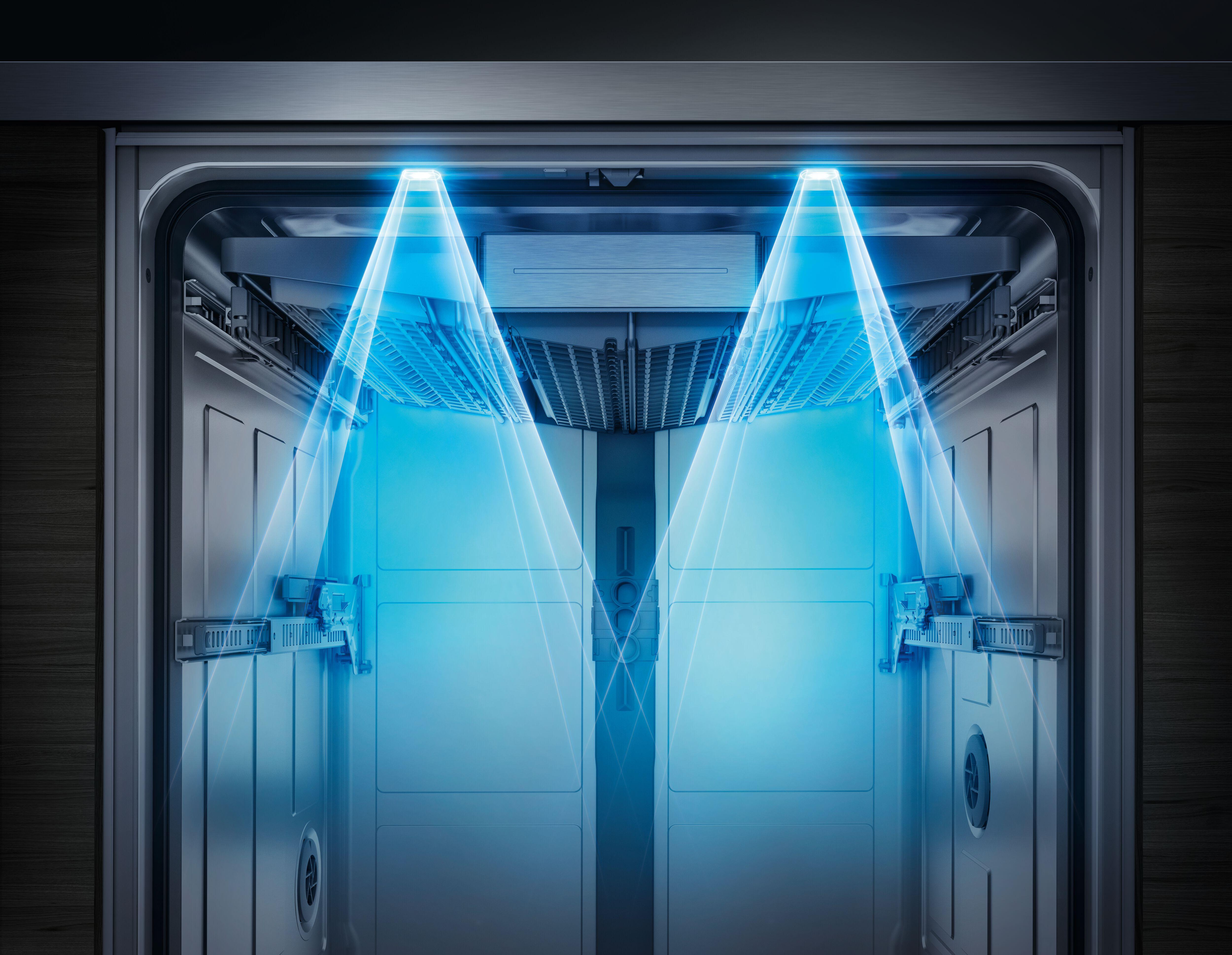 Poutavé osvětlení interiéru myčky nádobí v modré barvě - emotionLight.