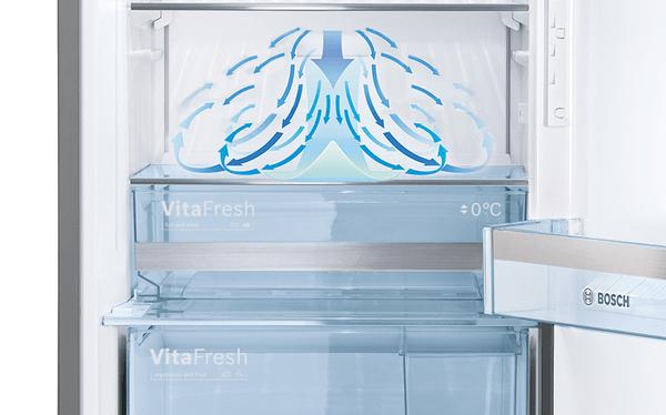 Systém MultiAirflow zajišťuje rovnoměrnou cirkulaci vzduchu pro dlouhodobou čerstvost